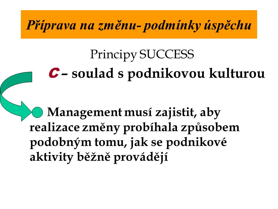 Principy SUCCESS C – soulad s podnikovou kulturou Management musí zajistit, aby realizace změny probíhala způsobem podobným tomu, jak se podnikové aktivity běžně provádějí Příprava na změnu- podmínky úspěchu