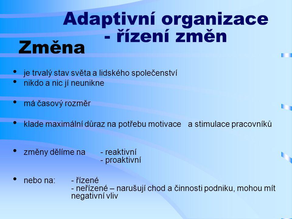 Změna je trvalý stav světa a lidského společenství nikdo a nic jí neunikne má časový rozměr klade maximální důraz na potřebu motivace a stimulace pracovníků změny dělíme na - reaktivní - proaktivní nebo na: - řízené - neřízené – narušují chod a činnosti podniku, mohou mít negativní vliv Adaptivní organizace - řízení změn