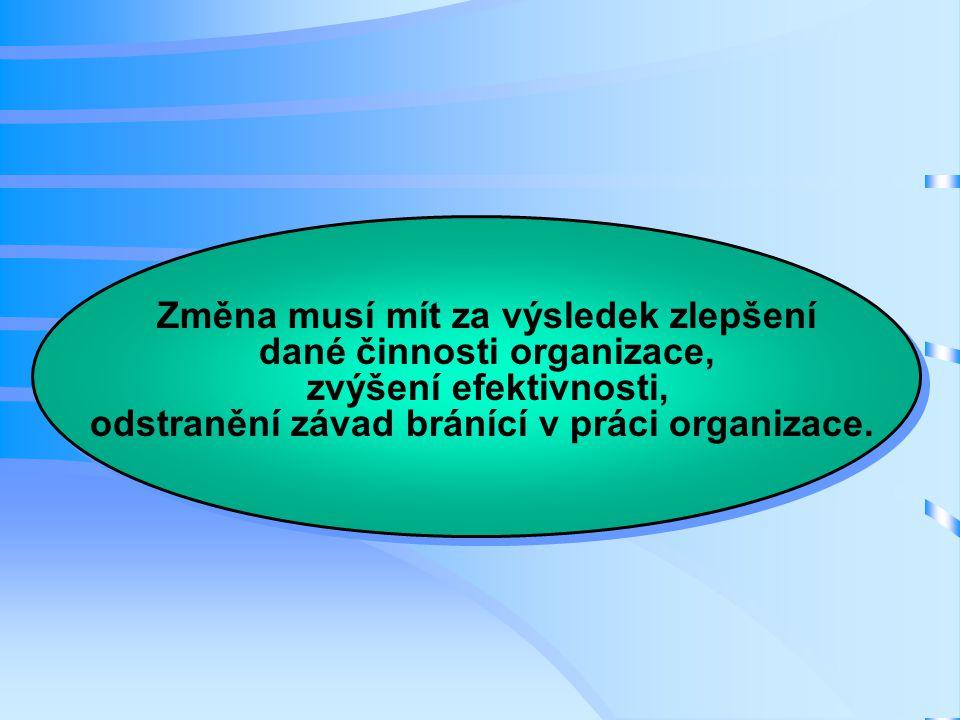 Změna musí mít za výsledek zlepšení dané činnosti organizace, zvýšení efektivnosti, odstranění závad bránící v práci organizace.