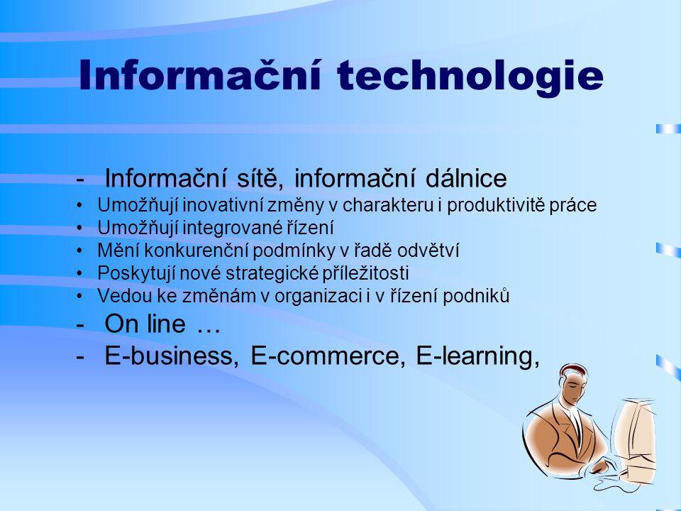 Informační technologie  Informační sítě, informační dálnice Umožňují inovativní změny v charakteru i produktivitě práce Umožňují integrované řízení Mění konkurenční podmínky v řadě odvětví Poskytují nové strategické příležitosti Vedou ke změnám v organizaci i v řízení podniků  On line …  E-business, E-commerce, E-learning,