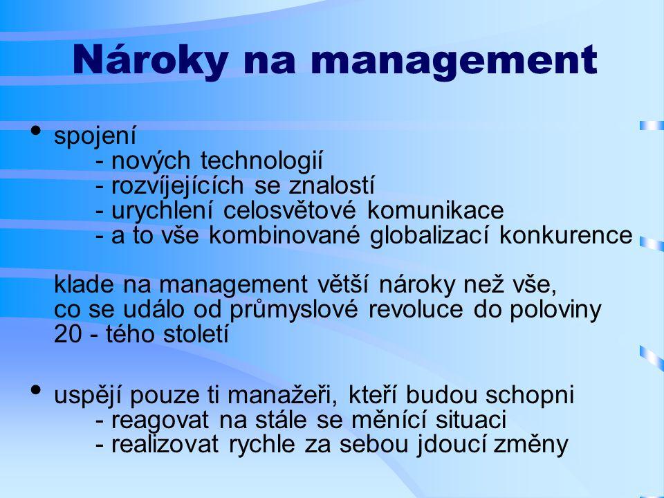 Nároky na management spojení - nových technologií - rozvíjejících se znalostí - urychlení celosvětové komunikace - a to vše kombinované globalizací konkurence klade na management větší nároky než vše, co se událo od průmyslové revoluce do poloviny 20 - tého století uspějí pouze ti manažeři, kteří budou schopni - reagovat na stále se měnící situaci - realizovat rychle za sebou jdoucí změny