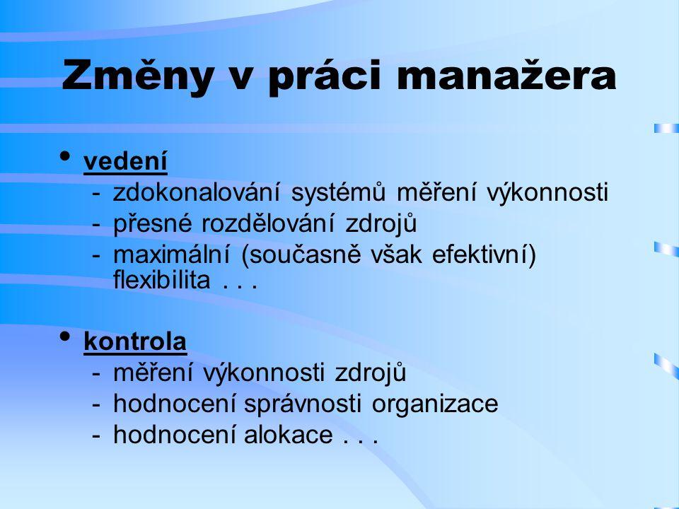 Změny v práci manažera vedení zdokonalování systémů měření výkonnosti přesné rozdělování zdrojů maximální (současně však efektivní) flexibilita...