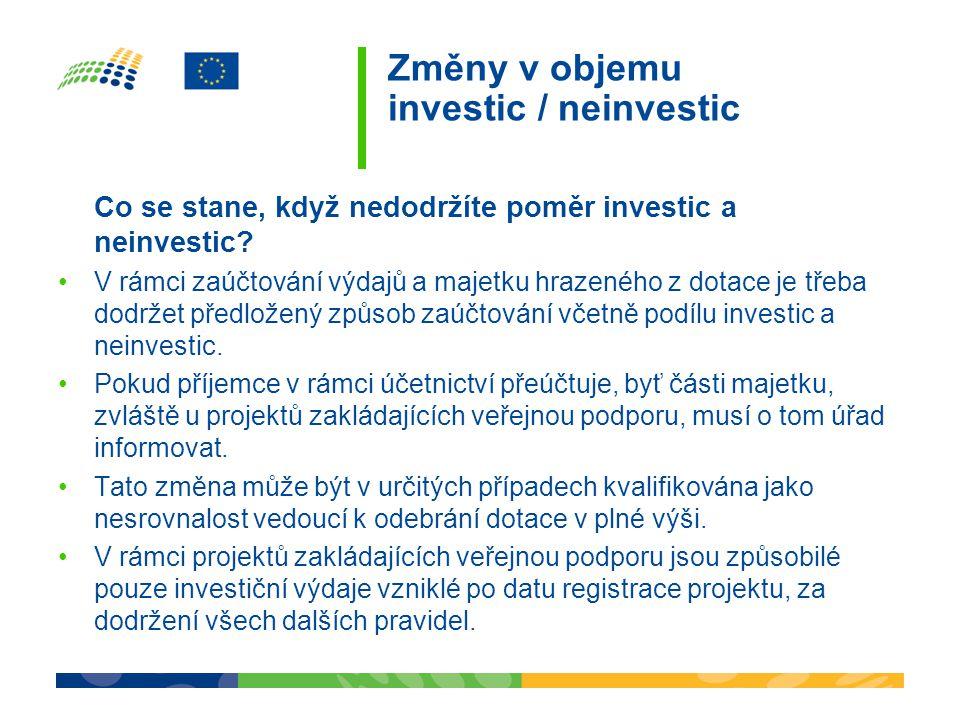Změny v objemu investic / neinvestic Co se stane, když nedodržíte poměr investic a neinvestic.