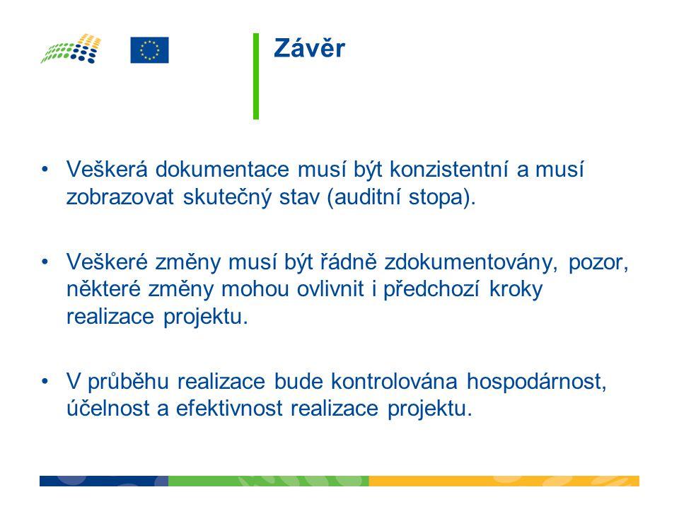 Závěr Veškerá dokumentace musí být konzistentní a musí zobrazovat skutečný stav (auditní stopa).
