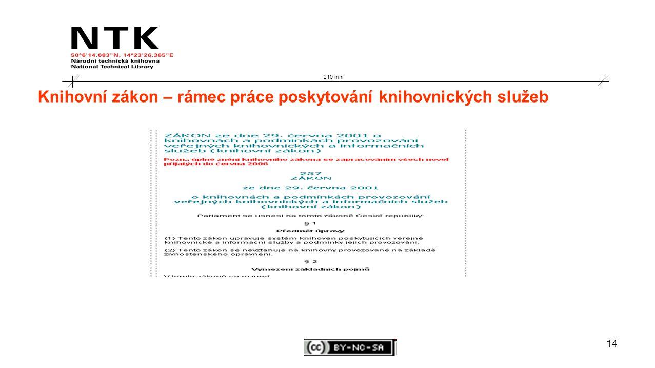 14 210 mm Knihovní zákon – rámec práce poskytování knihovnických služeb
