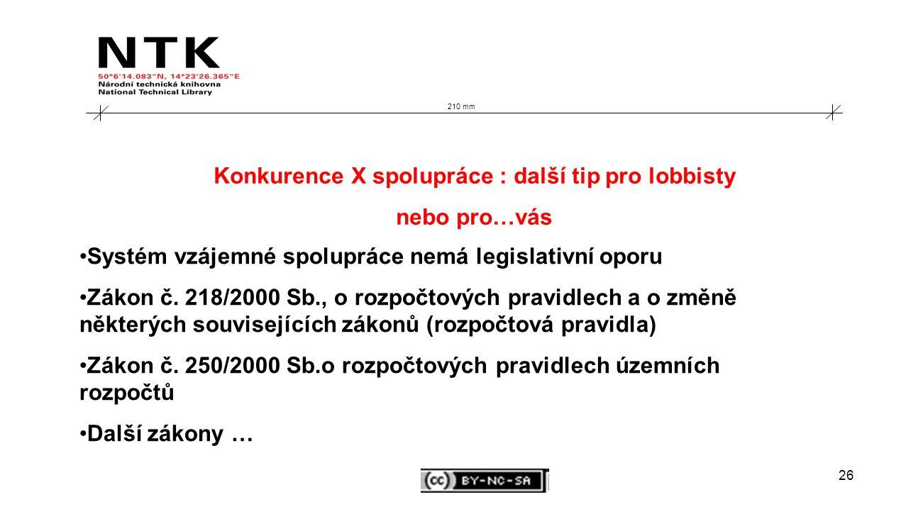 26 210 mm Konkurence X spolupráce : další tip pro lobbisty nebo pro…vás Systém vzájemné spolupráce nemá legislativní oporu Zákon č.