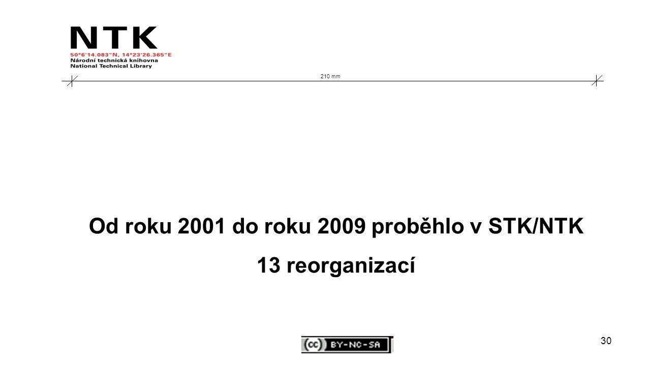 30 210 mm Od roku 2001 do roku 2009 proběhlo v STK/NTK 13 reorganizací