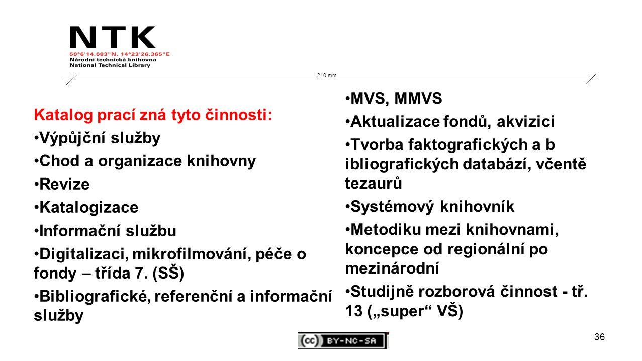 36 210 mm Katalog prací zná tyto činnosti: Výpůjční služby Chod a organizace knihovny Revize Katalogizace Informační službu Digitalizaci, mikrofilmování, péče o fondy – třída 7.