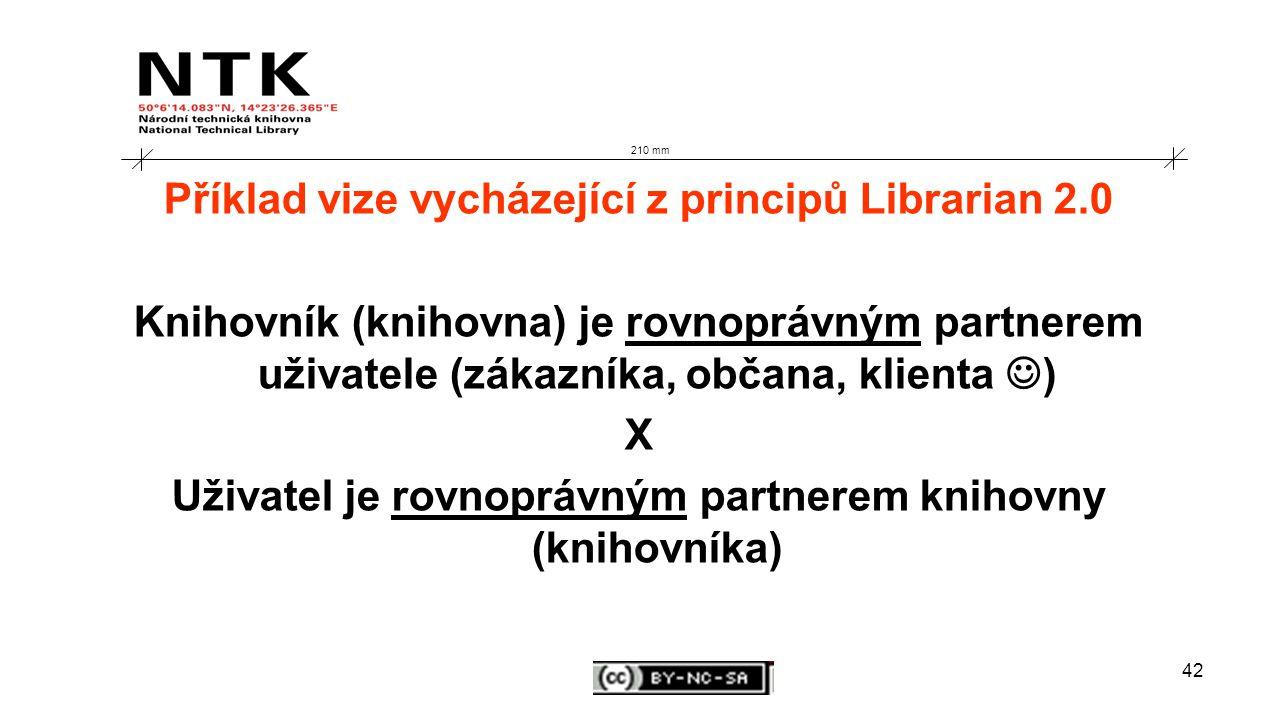 42 210 mm Příklad vize vycházející z principů Librarian 2.0 Knihovník (knihovna) je rovnoprávným partnerem uživatele (zákazníka, občana, klienta ) X Uživatel je rovnoprávným partnerem knihovny (knihovníka)