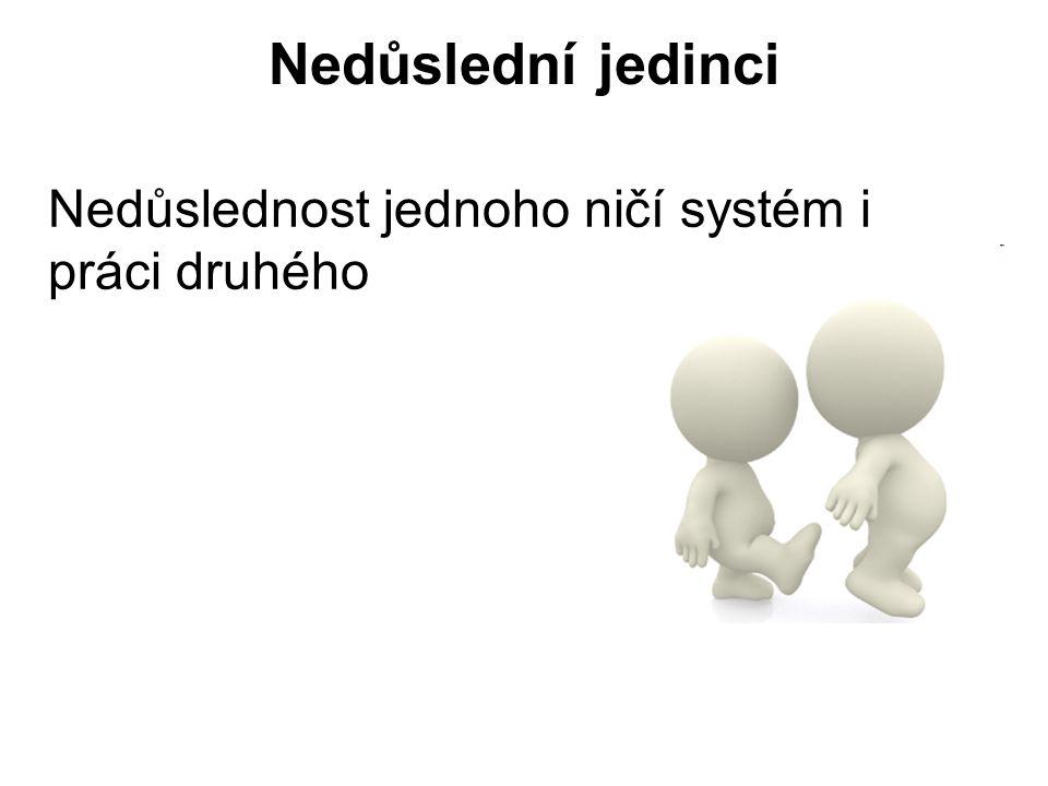 Nedůslední jedinci Nedůslednost jednoho ničí systém i práci druhého