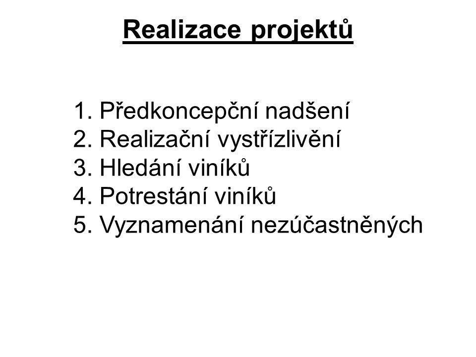 Realizace projektů 1. Předkoncepční nadšení 2. Realizační vystřízlivění 3. Hledání viníků 4. Potrestání viníků 5. Vyznamenání nezúčastněných