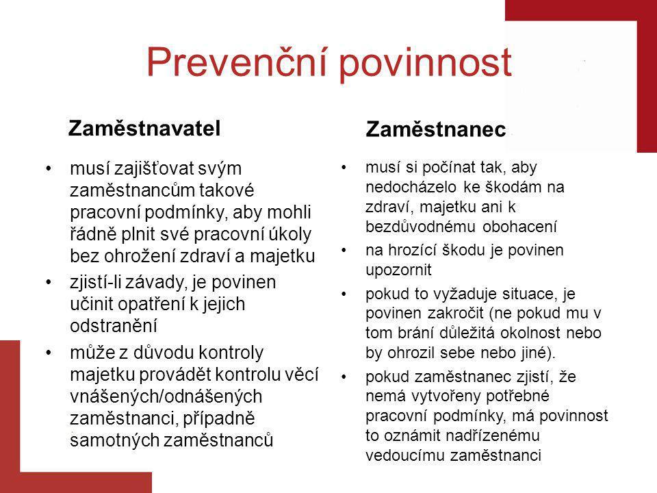 Prevenční povinnost musí zajišťovat svým zaměstnancům takové pracovní podmínky, aby mohli řádně plnit své pracovní úkoly bez ohrožení zdraví a majetku