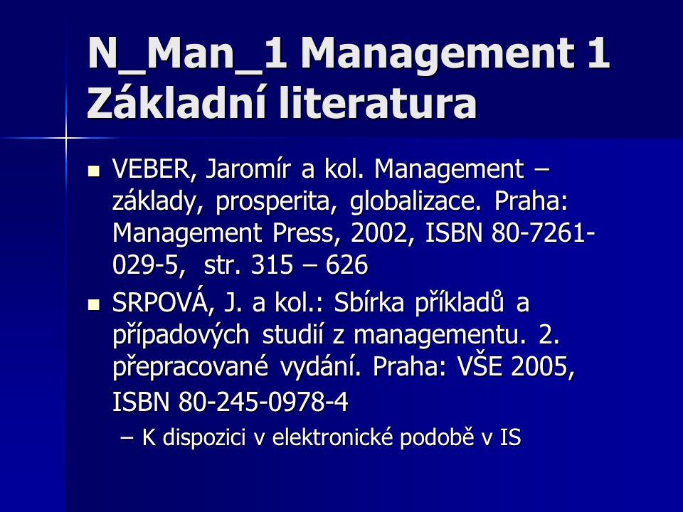 N_Man_1 Management 1 Základní literatura VEBER, Jaromír a kol. Management – základy, prosperita, globalizace. Praha: Management Press, 2002, ISBN 80-7
