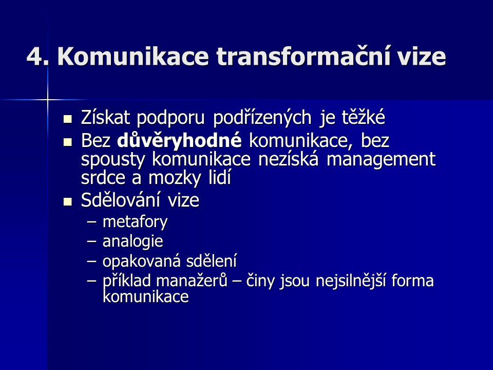 4. Komunikace transformační vize Získat podporu podřízených je těžké Získat podporu podřízených je těžké Bez důvěryhodné komunikace, bez spousty komun