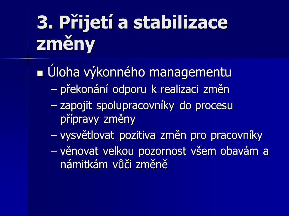 3. Přijetí a stabilizace změny Úloha výkonného managementu Úloha výkonného managementu –překonání odporu k realizaci změn –zapojit spolupracovníky do