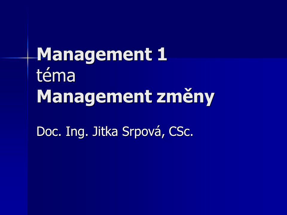 Management 1 téma Management změny Doc. Ing. Jitka Srpová, CSc.