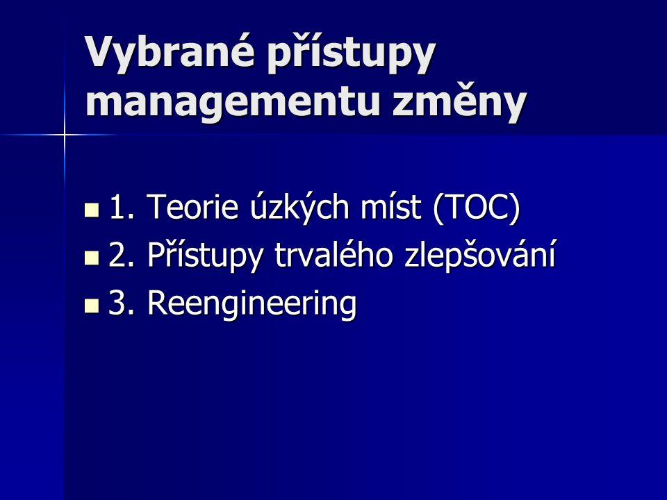 Vybrané přístupy managementu změny 1. Teorie úzkých míst (TOC) 1. Teorie úzkých míst (TOC) 2. Přístupy trvalého zlepšování 2. Přístupy trvalého zlepšo