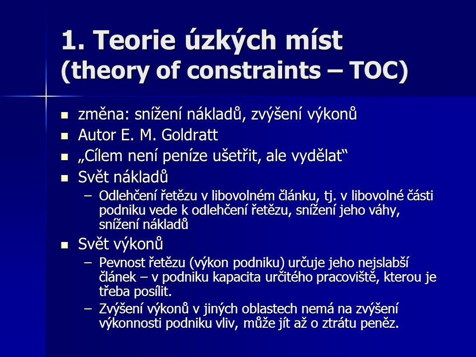 1. Teorie úzkých míst (theory of constraints – TOC) změna: snížení nákladů, zvýšení výkonů změna: snížení nákladů, zvýšení výkonů Autor E. M. Goldratt