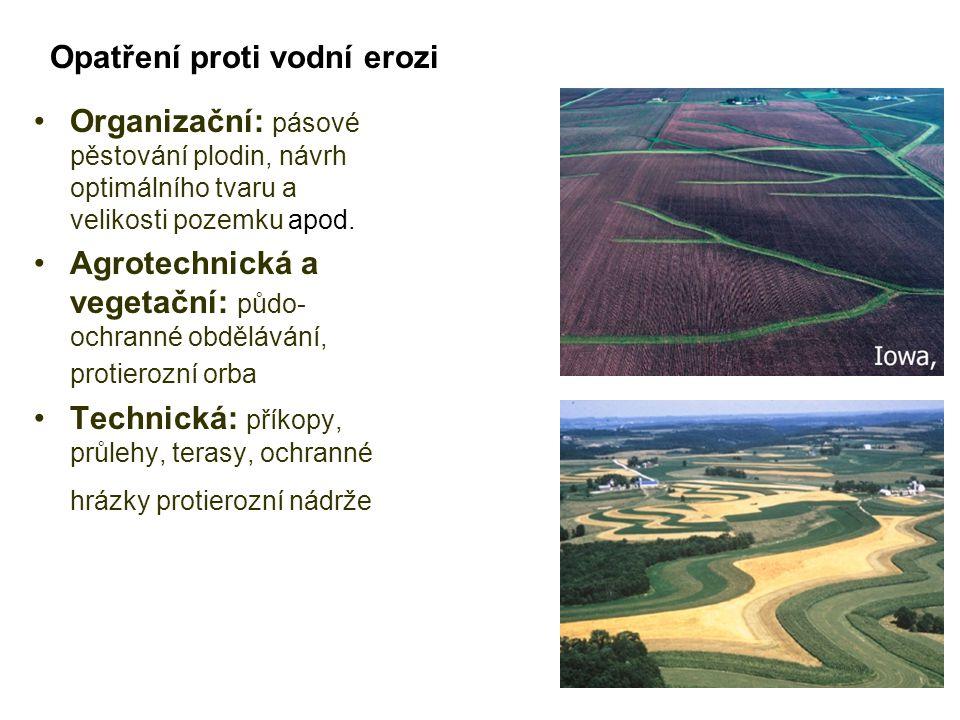 Organizační: pásové pěstování plodin, návrh optimálního tvaru a velikosti pozemku apod. Agrotechnická a vegetační: půdo- ochranné obdělávání, protiero