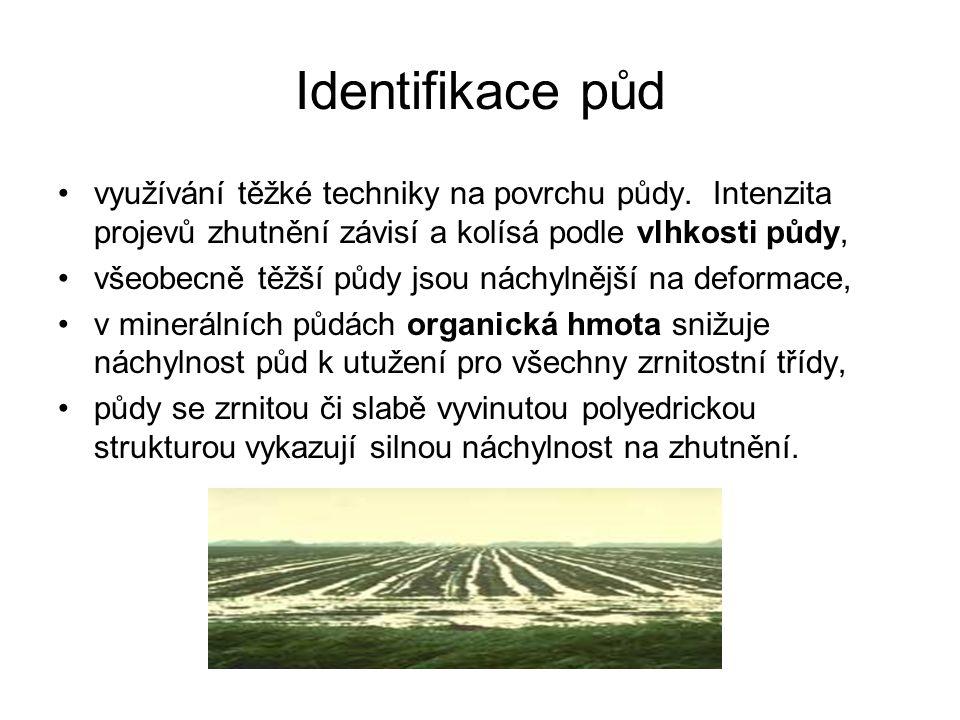 Identifikace půd využívání těžké techniky na povrchu půdy. Intenzita projevů zhutnění závisí a kolísá podle vlhkosti půdy, všeobecně těžší půdy jsou n