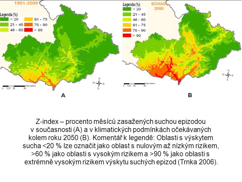 Z-index – procento měsíců zasažených suchou epizodou v současnosti (A) a v klimatických podmínkách očekávaných kolem roku 2050 (B). Komentář k legendě