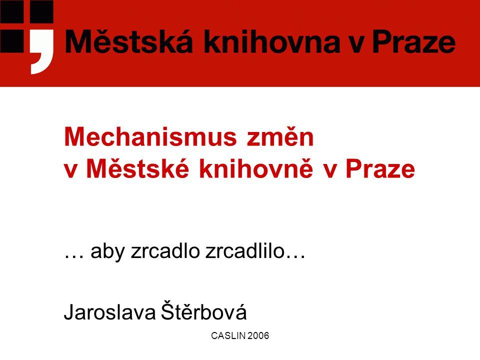 CASLIN 2006 Mechanismus změn v Městské knihovně v Praze … aby zrcadlo zrcadlilo… Jaroslava Štěrbová