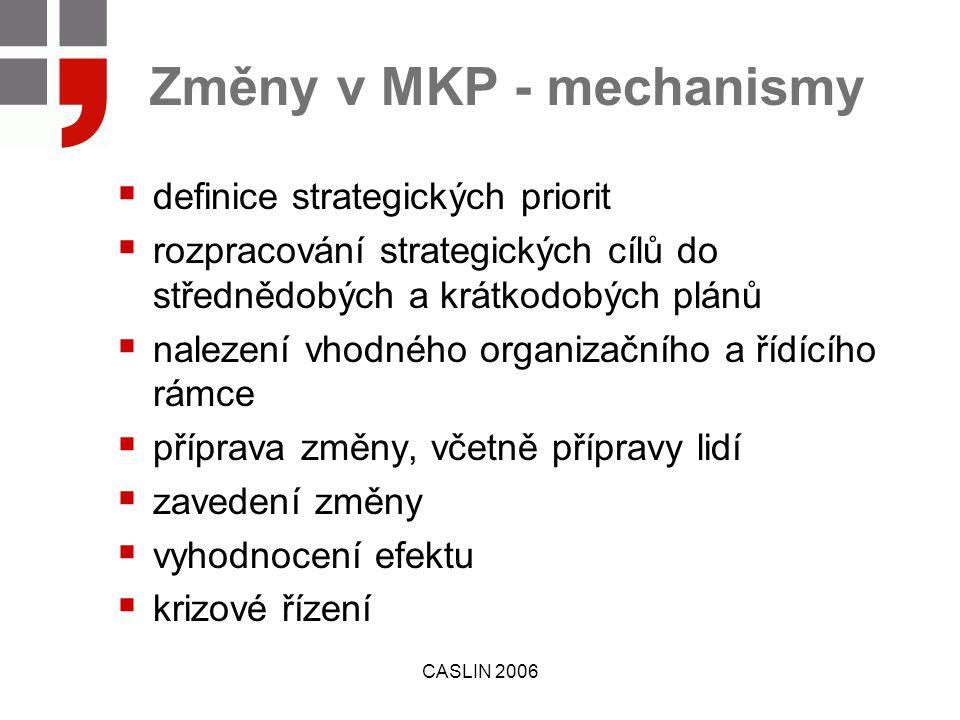 CASLIN 2006 Změny v MKP - mechanismy  definice strategických priorit  rozpracování strategických cílů do střednědobých a krátkodobých plánů  nalezení vhodného organizačního a řídícího rámce  příprava změny, včetně přípravy lidí  zavedení změny  vyhodnocení efektu  krizové řízení