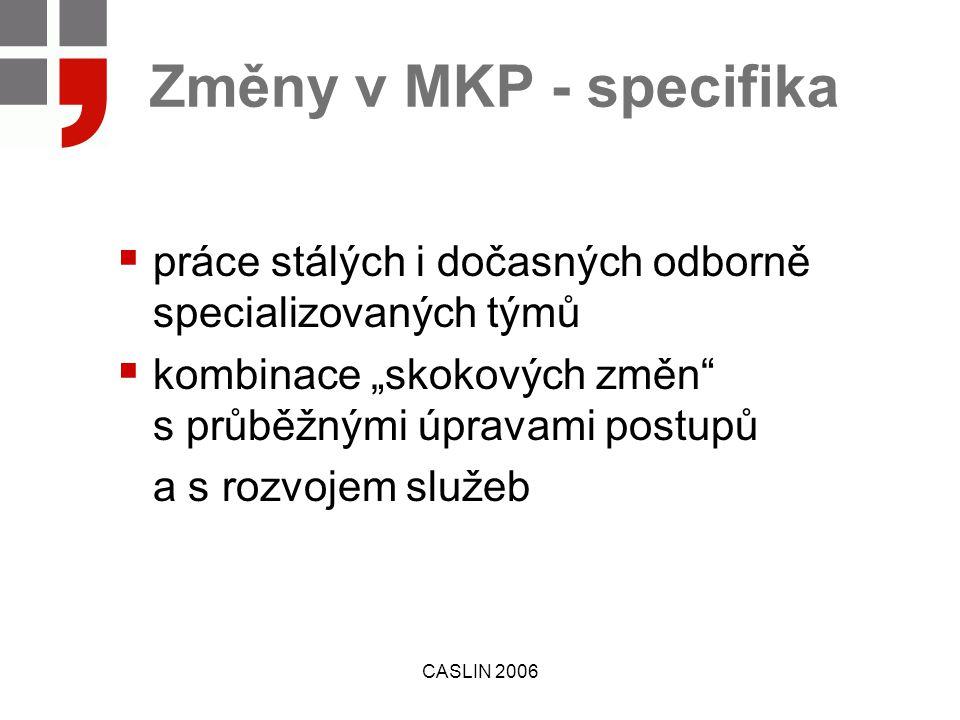 """CASLIN 2006 Změny v MKP - specifika  práce stálých i dočasných odborně specializovaných týmů  kombinace """"skokových změn s průběžnými úpravami postupů a s rozvojem služeb"""