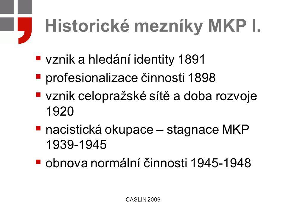 CASLIN 2006 Historické mezníky MKP I.