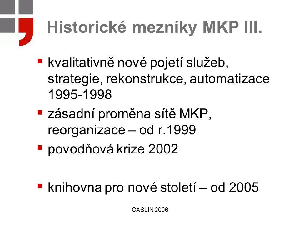CASLIN 2006 Historické mezníky MKP III.