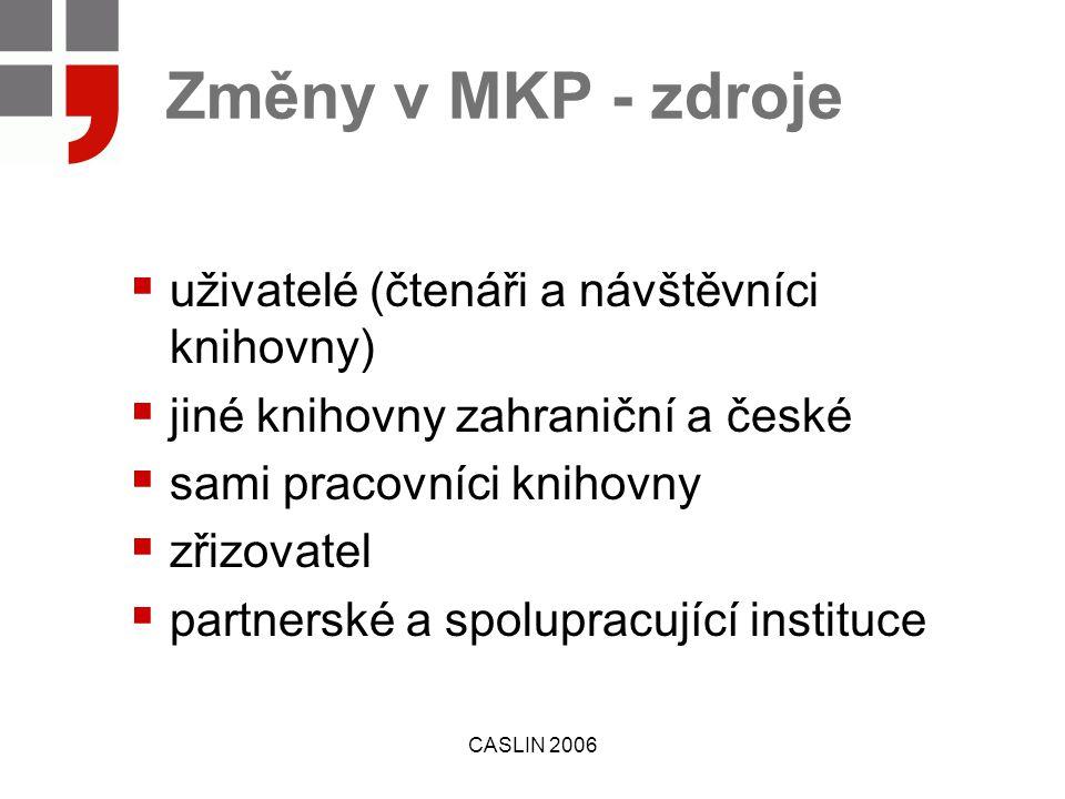 CASLIN 2006 Změny v MKP - zdroje  uživatelé (čtenáři a návštěvníci knihovny)  jiné knihovny zahraniční a české  sami pracovníci knihovny  zřizovatel  partnerské a spolupracující instituce