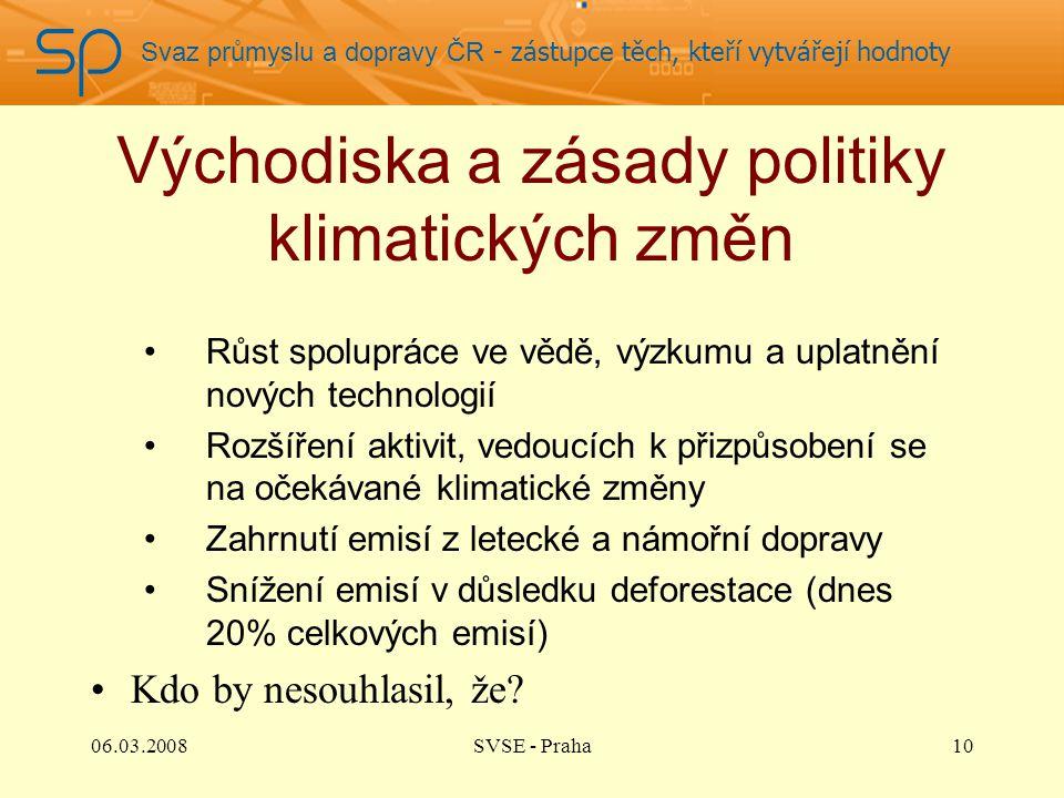 Svaz průmyslu a dopravy ČR - zástupce těch, kteří vytvářejí hodnoty Východiska a zásady politiky klimatických změn Růst spolupráce ve vědě, výzkumu a