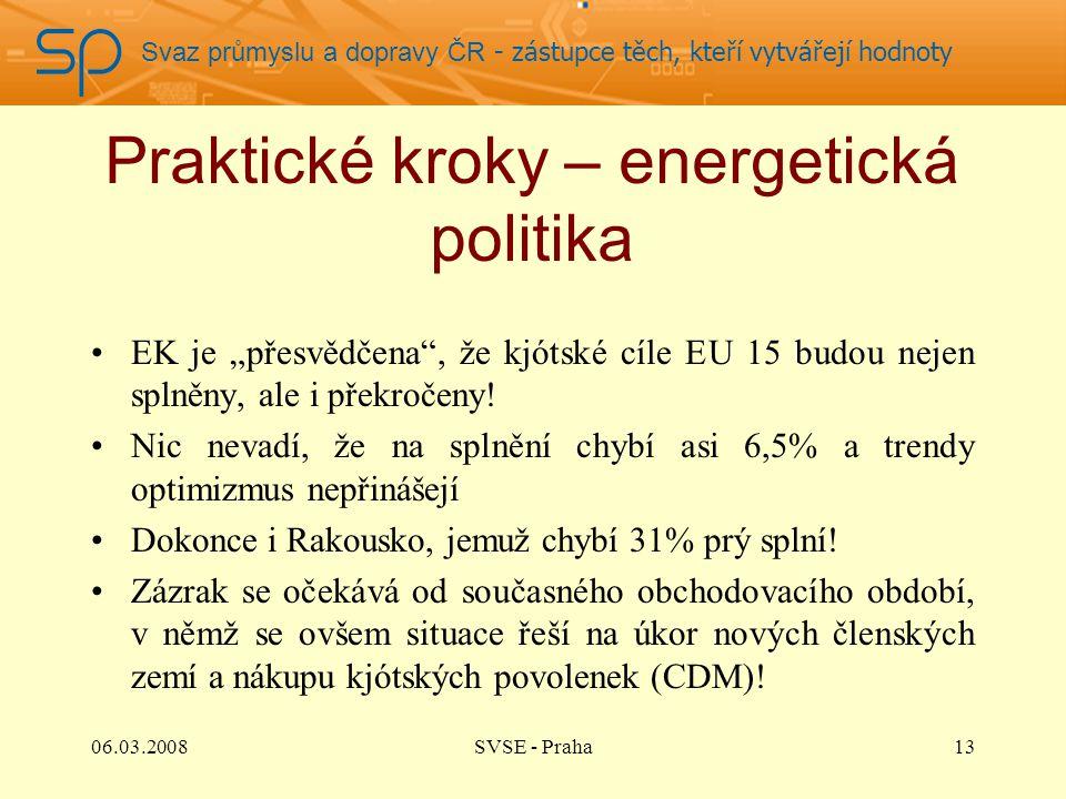 """Svaz průmyslu a dopravy ČR - zástupce těch, kteří vytvářejí hodnoty Praktické kroky – energetická politika EK je """"přesvědčena , že kjótské cíle EU 15 budou nejen splněny, ale i překročeny."""
