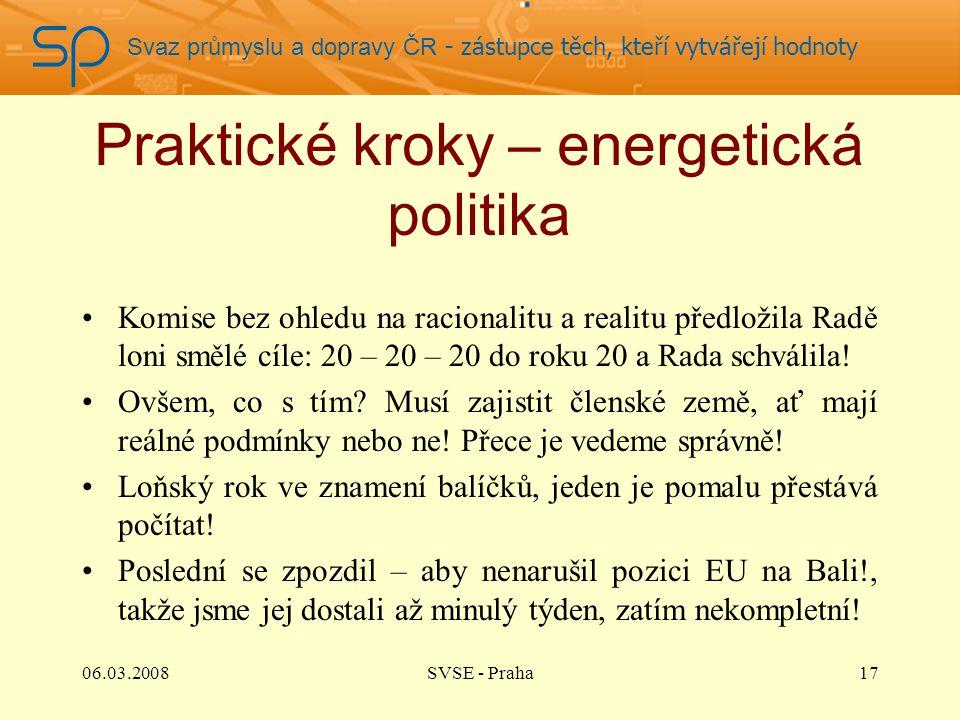 Svaz průmyslu a dopravy ČR - zástupce těch, kteří vytvářejí hodnoty Praktické kroky – energetická politika Komise bez ohledu na racionalitu a realitu předložila Radě loni smělé cíle: 20 – 20 – 20 do roku 20 a Rada schválila.