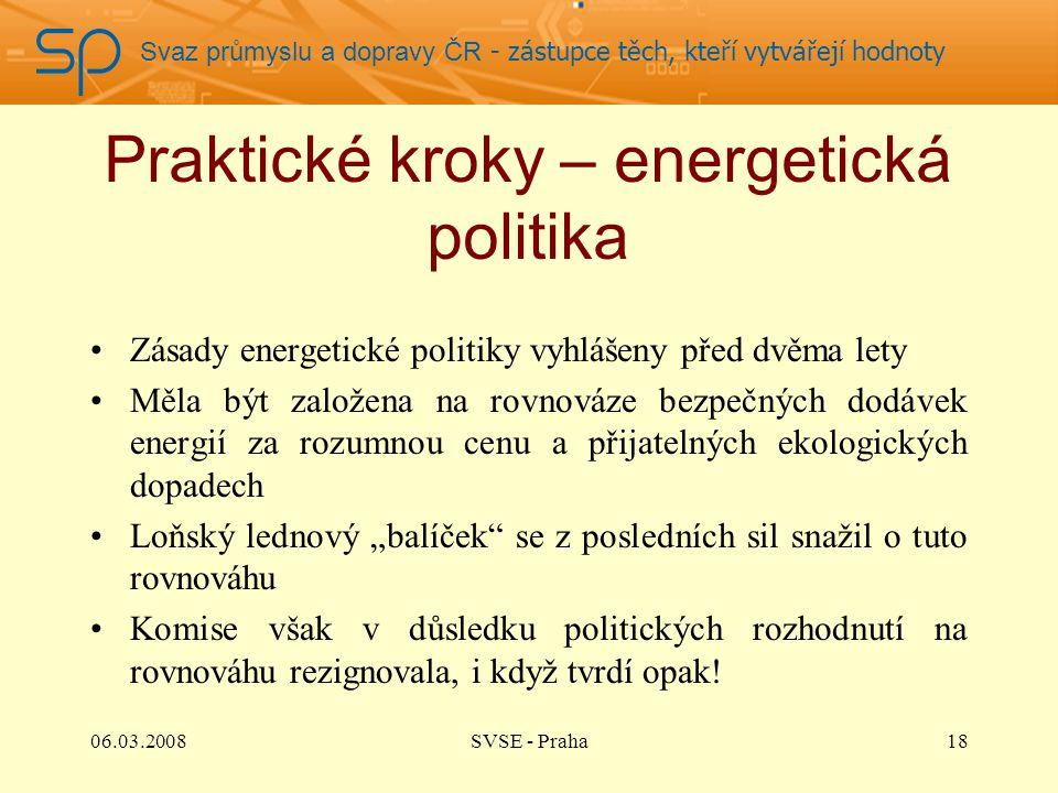 Svaz průmyslu a dopravy ČR - zástupce těch, kteří vytvářejí hodnoty Praktické kroky – energetická politika Zásady energetické politiky vyhlášeny před