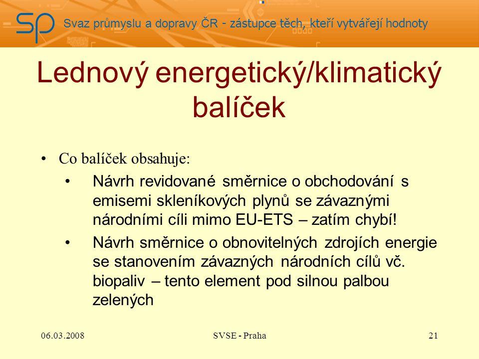 Svaz průmyslu a dopravy ČR - zástupce těch, kteří vytvářejí hodnoty Lednový energetický/klimatický balíček Co balíček obsahuje: Návrh revidované směrnice o obchodování s emisemi skleníkových plynů se závaznými národními cíli mimo EU-ETS – zatím chybí.