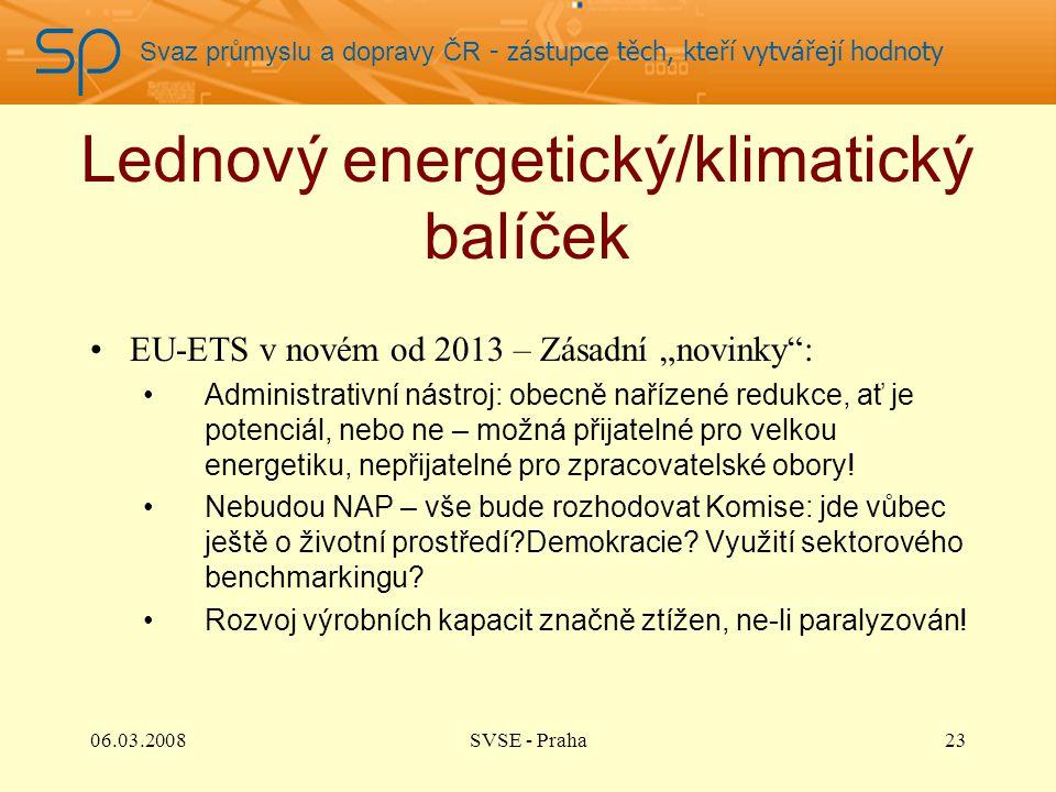 """Svaz průmyslu a dopravy ČR - zástupce těch, kteří vytvářejí hodnoty Lednový energetický/klimatický balíček EU-ETS v novém od 2013 – Zásadní """"novinky : Administrativní nástroj: obecně nařízené redukce, ať je potenciál, nebo ne – možná přijatelné pro velkou energetiku, nepřijatelné pro zpracovatelské obory."""