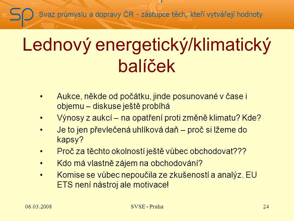 Svaz průmyslu a dopravy ČR - zástupce těch, kteří vytvářejí hodnoty Lednový energetický/klimatický balíček Aukce, někde od počátku, jinde posunované v čase i objemu – diskuse ještě probíhá Výnosy z aukcí – na opatření proti změně klimatu.