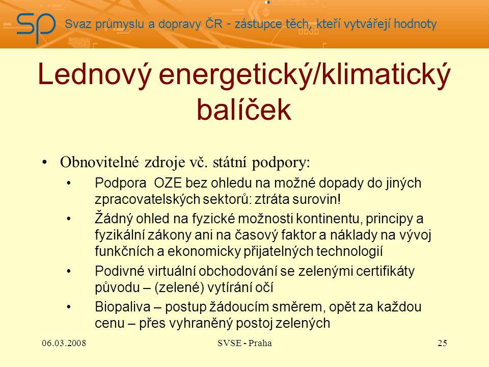 Svaz průmyslu a dopravy ČR - zástupce těch, kteří vytvářejí hodnoty Lednový energetický/klimatický balíček Obnovitelné zdroje vč. státní podpory: Podp