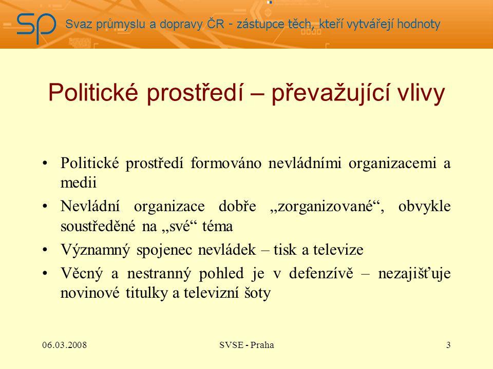 Svaz průmyslu a dopravy ČR - zástupce těch, kteří vytvářejí hodnoty Politické prostředí – převažující vlivy Politické prostředí formováno nevládními o