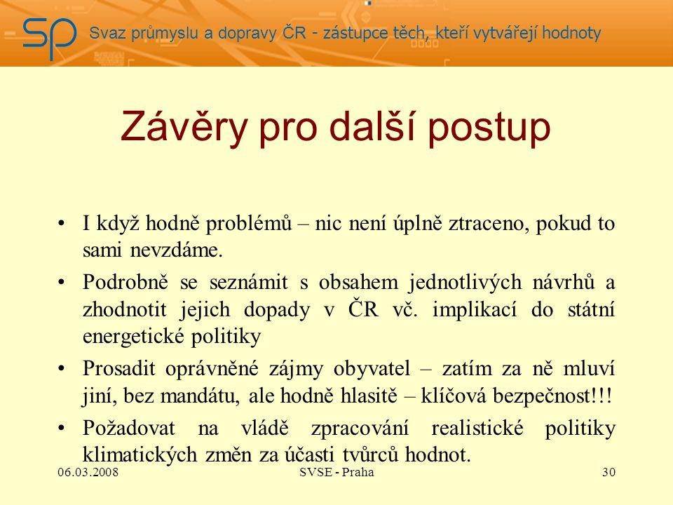 Svaz průmyslu a dopravy ČR - zástupce těch, kteří vytvářejí hodnoty Závěry pro další postup I když hodně problémů – nic není úplně ztraceno, pokud to