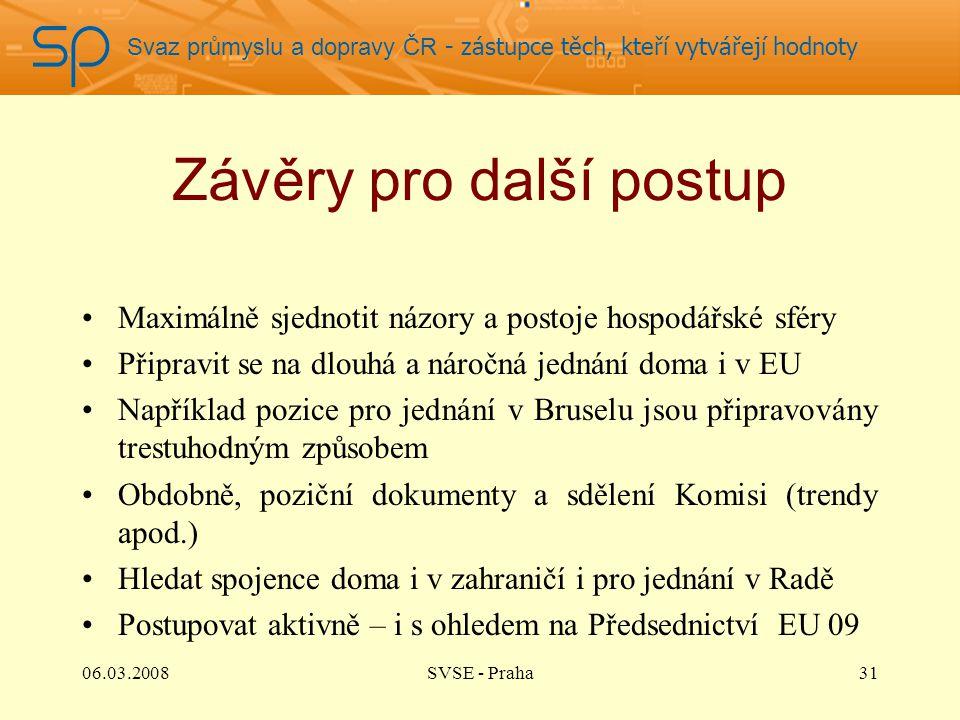 Svaz průmyslu a dopravy ČR - zástupce těch, kteří vytvářejí hodnoty Závěry pro další postup Maximálně sjednotit názory a postoje hospodářské sféry Při