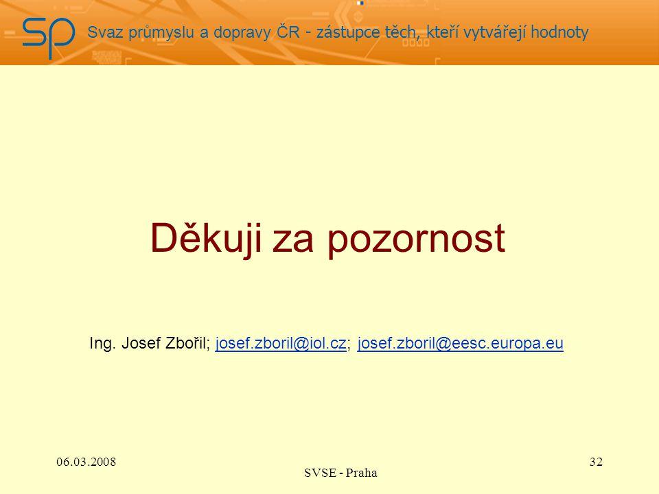 Svaz průmyslu a dopravy ČR - zástupce těch, kteří vytvářejí hodnoty Děkuji za pozornost 32 Ing. Josef Zbořil; josef.zboril@iol.cz; josef.zboril@eesc.e