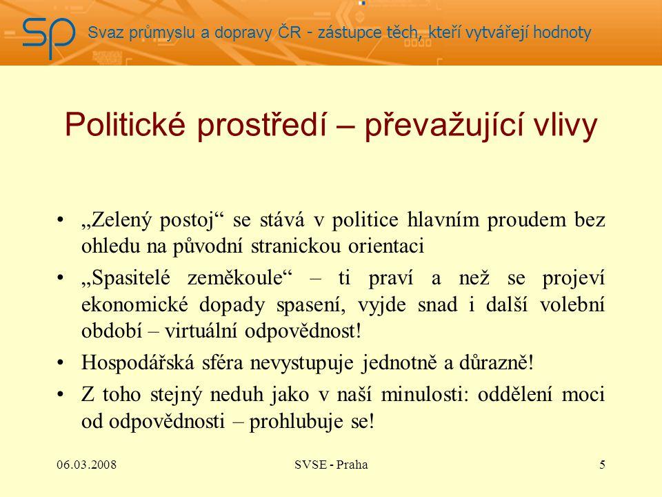 """Svaz průmyslu a dopravy ČR - zástupce těch, kteří vytvářejí hodnoty Politické prostředí – převažující vlivy """"Zelený postoj"""" se stává v politice hlavní"""