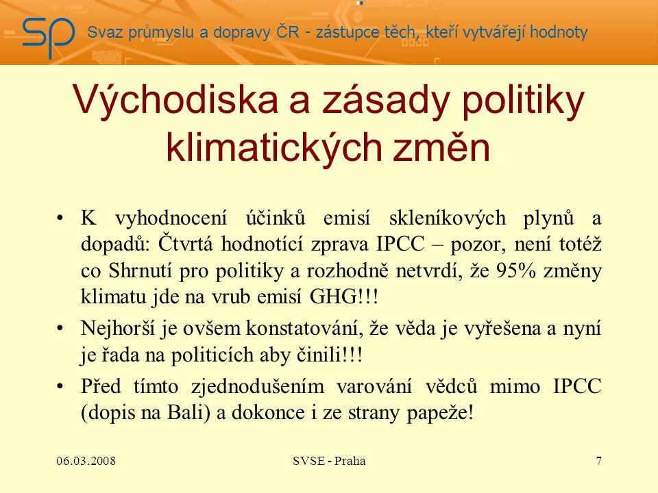 Svaz průmyslu a dopravy ČR - zástupce těch, kteří vytvářejí hodnoty Východiska a zásady politiky klimatických změn K vyhodnocení účinků emisí skleníkových plynů a dopadů: Čtvrtá hodnotící zprava IPCC – pozor, není totéž co Shrnutí pro politiky a rozhodně netvrdí, že 95% změny klimatu jde na vrub emisí GHG!!.
