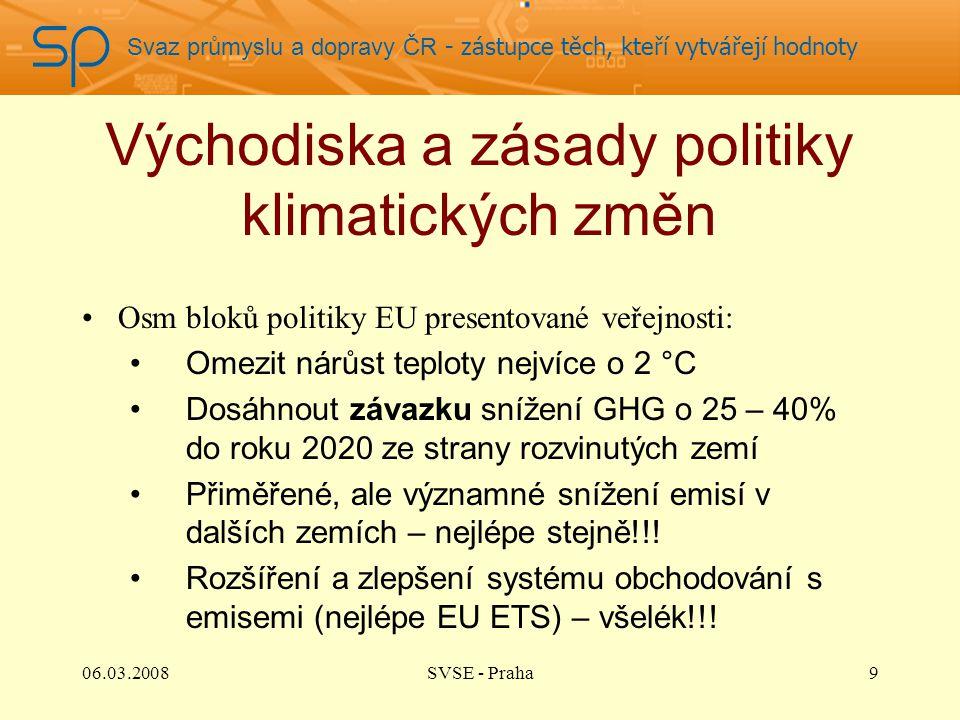Svaz průmyslu a dopravy ČR - zástupce těch, kteří vytvářejí hodnoty Východiska a zásady politiky klimatických změn Osm bloků politiky EU presentované veřejnosti: Omezit nárůst teploty nejvíce o 2 °C Dosáhnout závazku snížení GHG o 25 – 40% do roku 2020 ze strany rozvinutých zemí Přiměřené, ale významné snížení emisí v dalších zemích – nejlépe stejně!!.