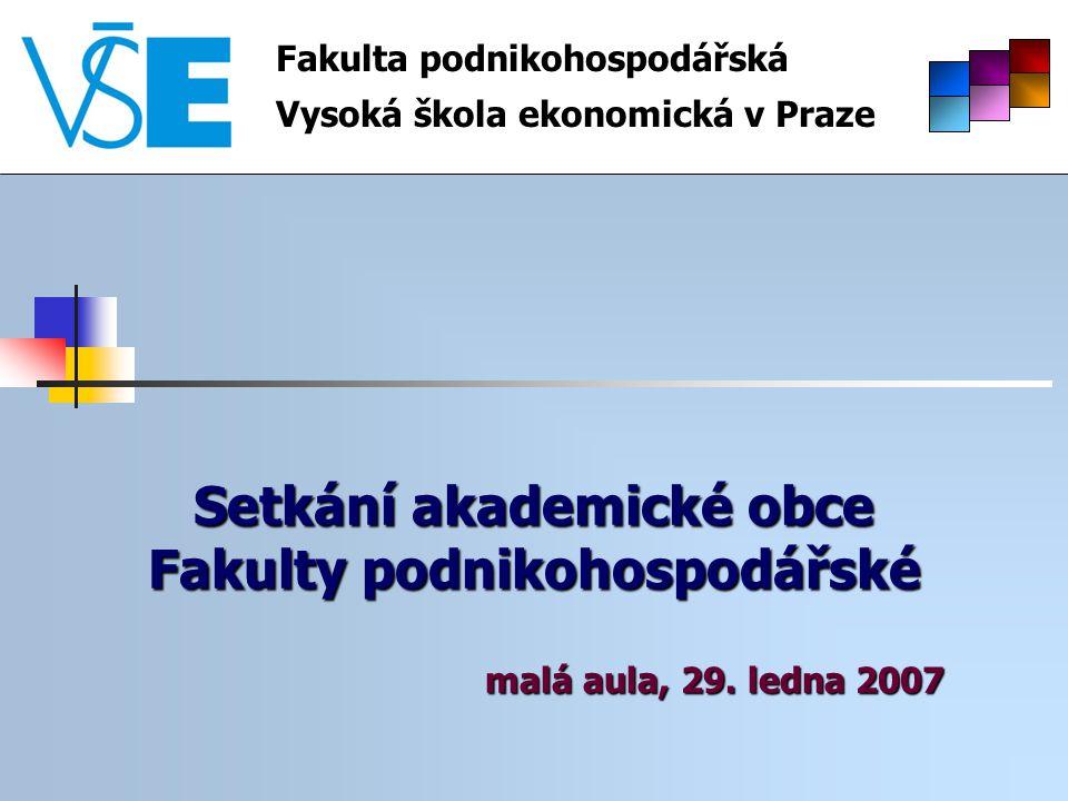 Setkání akademické obce Fakulty podnikohospodářské malá aula, 29. ledna 2007 Fakulta podnikohospodářská Vysoká škola ekonomická v Praze