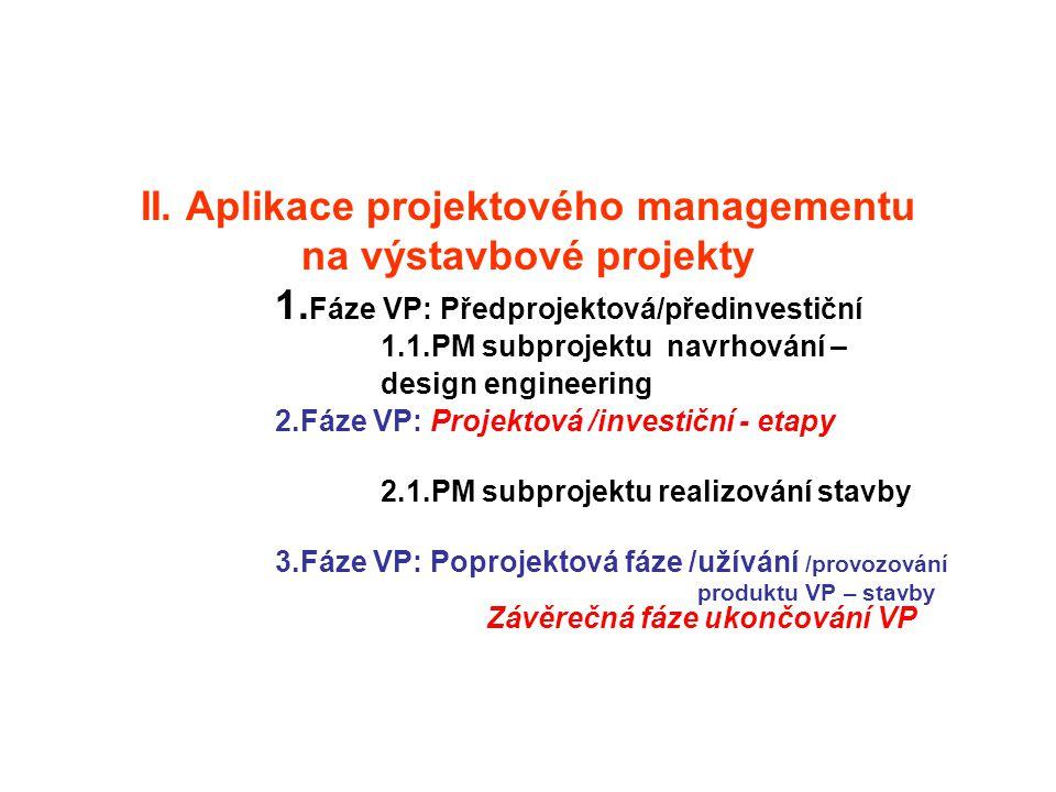 II. Aplikace projektového managementu na výstavbové projekty 1. Fáze VP: Předprojektová/předinvestiční 1.1.PM subprojektu navrhování – design engineer