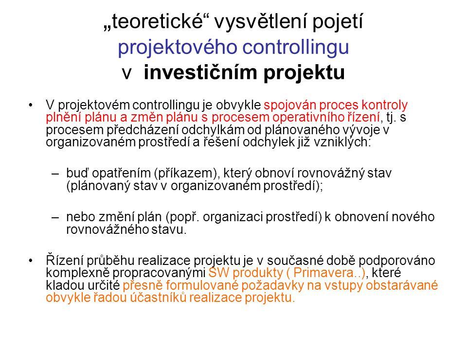 """"""" teoretické"""" vysvětlení pojetí projektového controllingu v investičním projektu V projektovém controllingu je obvykle spojován proces kontroly plnění"""