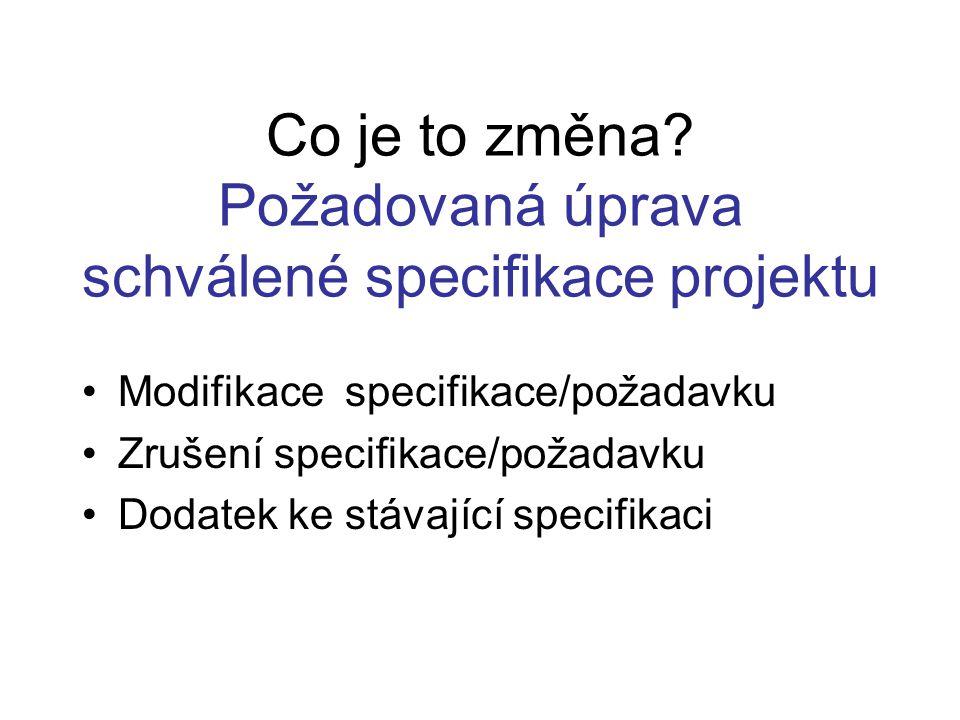 Co je to změna? Požadovaná úprava schválené specifikace projektu Modifikace specifikace/požadavku Zrušení specifikace/požadavku Dodatek ke stávající s